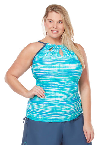 Free Country Women's Plus Size Heatwave Keyhole Halter Tankini Top - Jade Lagoon