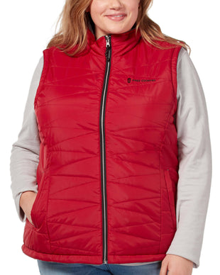 Free Country Women's Plus Size Highland Cloud Lite Reversible Vest - Etched Red - 1X