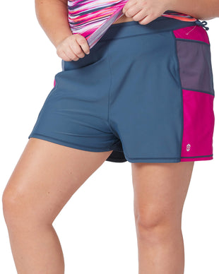 Free Country Women's Plus Size Mesh Detail Swim Short - Slate-Magenta - 1X