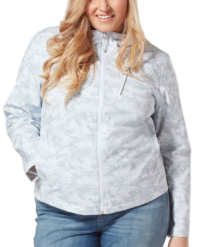 Free Country Women's Plus Size Monsoon X2O Rain Jacket - Shell Grey Camo - 1X