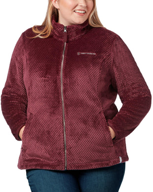 Free Country Women's Plus Size Mosaic Butter Pile® Fleece Jacket - Beet - 1X