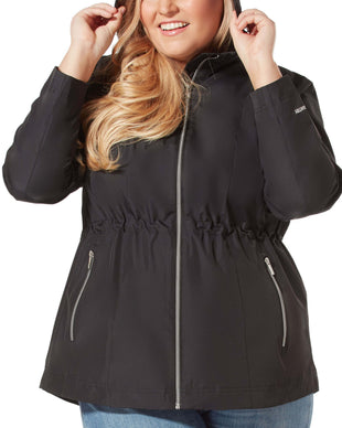 Free Country Women's Plus Size New Day Radiance Anorak Rain Jacket - Black - 1X