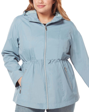 Free Country Women's Plus Size New Day Radiance Anorak Rain Jacket - Bluestone - 1X