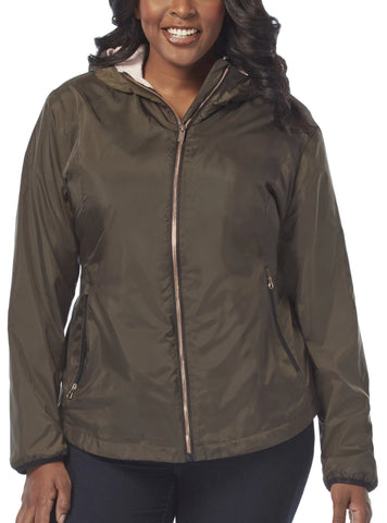 Free Country Women's Plus Size Paramount Windshear Jacket - Dark Olive - 1X
