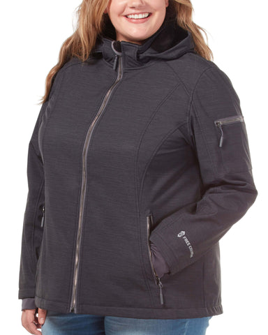 Free Country Women's Plus Size Prestige Super Softshell® Jacket - Black - 1X