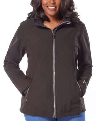 Free Country Women's Plus Size Prevail Super Softshell® Jacket - Black - 1X