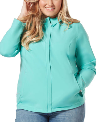 Free Country Women's Plus Size Roam X2O Packable Waterproof Jacket - Mint - 1X