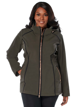 Free Country Women's Plus Size Saunter Long Softshell Jacket - Vintage Olive - 1X
