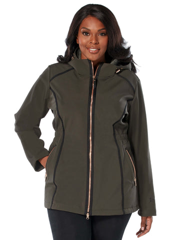 Free Country Women's Plus Size Saunter Long Softshell Jacket - Vintage Olive