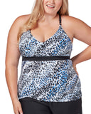 Women's Plus Size Sea Spots Triple Strap Tankini Top