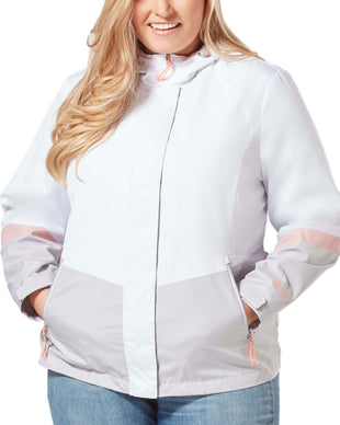 Free Country Women's Plus Size Sporty Multi Ripstop Jacket - White - 1X