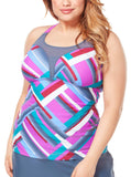 Women's Plus Size Summer Terrace Wide Strap Mesh Tankini Top