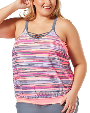 Free Country Women's Plus Size Sunlight Blouson Tankini Top -  -
