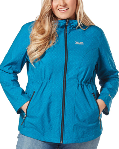 Free Country Women's Plus Size Torrential X2O Rain Jacket - Teal - 1X