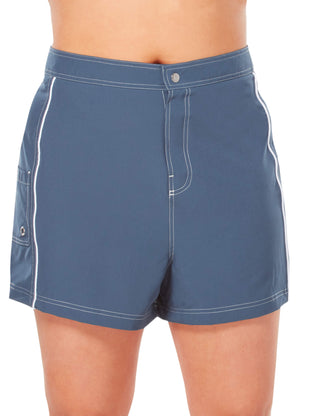 Free Country Women's Plus Size Woven Stretch Board Short - Slate-White - 1X