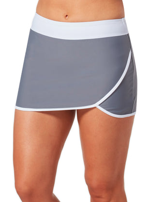 Free Country Women's Plus Size Wrap Swim Skirt - Cloud Grey-White - 1X