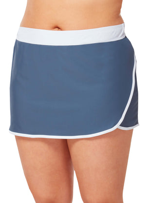 Free Country Women's Plus Size Wrap Swim Skirt - Slate-White - 1X