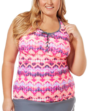 Free Country Women's Plus Size Zig Zag Lace Up Racerback Tankini Top - Cantaloupe - 1X
