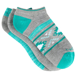 Free Country Women's Poly-Blend Aztec Marl No-Show Socks - Turquoise - 6-10