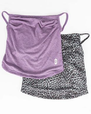 Free Country Women's Protective Face Mask Gaiter w/ Filter Pocket - 2PC Set - Leopard Charcoal-Deep Purple - O/S