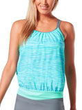 Women's Reflective Space Dye Blouson Tankini Top