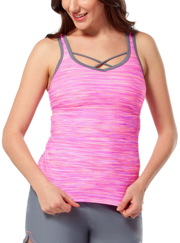 Free Country Women's Reflective Space Dye Criss Cross Back Tankini Top - Lilac - S