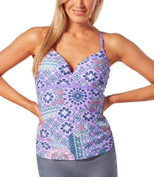 Free Country Women's Santorini Strappy Sweetheart Tankini Top - Ultra Violet - S