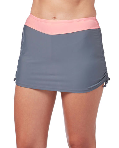 Free Country Women's Side Shirred Skirt - Cloud Grey-Cantaloupe - S