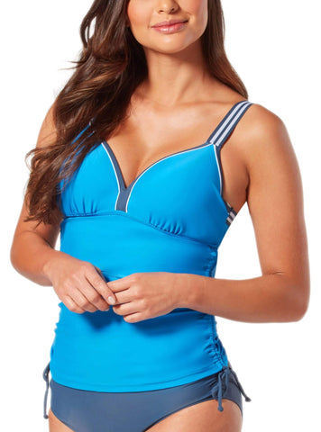 Free Country Women's Solid Track Strap Shirred Tankini Top - Azure - S