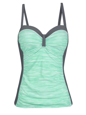 Free Country Women's Space Dye Bandeaux Tankini Top - Mint - S