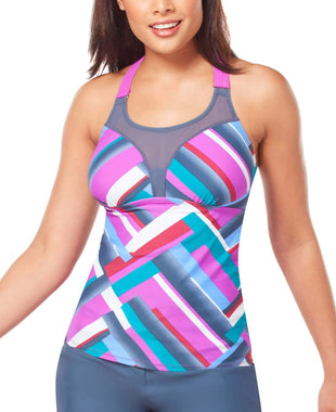 Free Country Women's Summer Terrace Wide Strap Mesh Tankini Top - Berrylicious - S