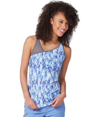Free Country Women's Sun Glare Asymmetrical Tankini Top - Blue Iris - S