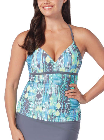 Free Country Women's Sun Rays Triple Strap Tankini Top - Spearmint - S