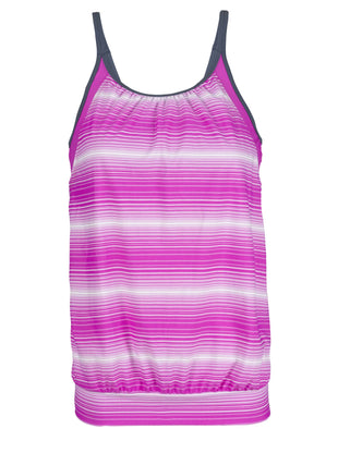 Free Country Women's Sunbeam Stripe Blouson Tankini Top - Raspberry - S