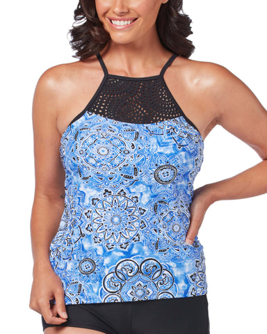 Free Country Women's Sundial Laser Cut Tankini Top - Peri Mist - S