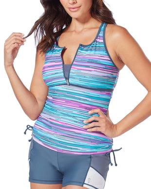 Free Country Women's Sunlight Zip Front Racerback Tankini Top - Berry-Turq - S