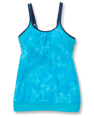 Free Country Women's Tie Dye Splash Blouson Tankini - Tropic Turq - S