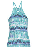 Free Country Women's Tie Dye Surf Braided High Neck Tankini Top - Jade Lagoon