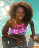 Free Country Women's Tie Dye Surf Braided High Neck Tankini Top -