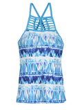 Free Country Women's Tie Dye Surf Braided High Neck Tankini Top - Tahiti Turq
