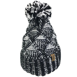 Free Country Women's Twisted Cable Knit Beanie with Yarn Pom - Black - O/S