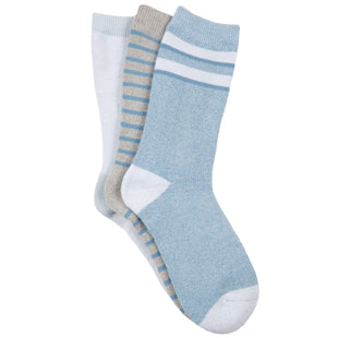 Free Country Women's Varsity Stripe Full Terry Crew Socks - Grey - 6-10