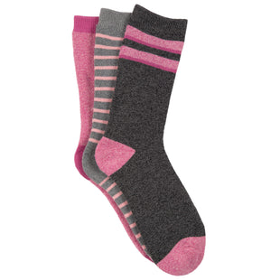 Free Country Women's Varsity Stripe Full Terry Crew Socks - Pink - 6-10