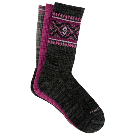 Free Country Women's Wool-Blend Aztec Pop Crew Socks - Charcoal - 6-10