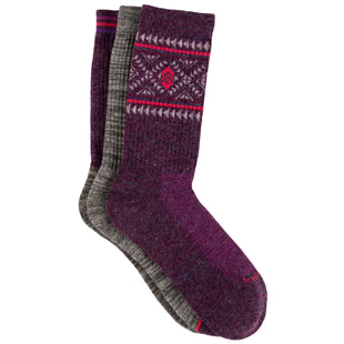 Free Country Women's Wool-Blend Aztec Pop Crew Socks - Purple - 6-10