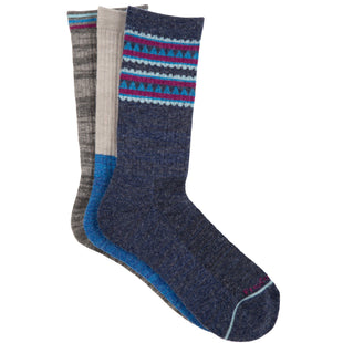 Free Country Women's Wool-Blend Aztec Stripe Crew Socks - Navy - 6-10