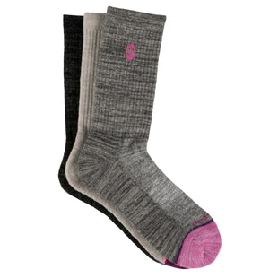 Free Country Women's Wool-Blend Basic Toe Pop Crew Socks - Grey - 6-10