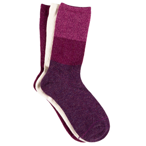 Free Country Women's Wool-Blend Colorblock Cable Texture Crew Socks - Pink - 6-10
