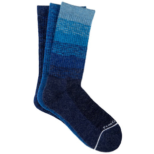 Free Country Women's Wool-Blend Colorblock Ombre Crew Socks - Blue - 6-10