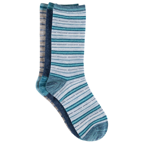 Free Country Women's Wool-Blend Flat Knit Stripe Crew Socks - Blue - 6-10